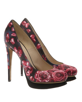 Nicholas Kirkwood - Rose printed satin platform court shoes