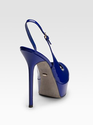 Sergio Rossi Patent Blue Leather Peep-Toe Pumps Stiletto