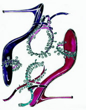 Manolo Blahnik drawing Blue red