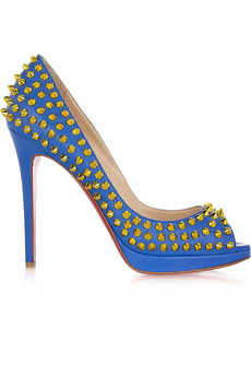 Gold studs blue Christian Louboutin peep-toe