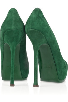 YSL-Tribtoo suede pumps-green-stiletto