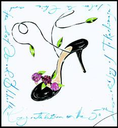 manolo blahnik drawing flowers green