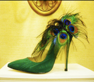 Greek Shoe Designer Vassilis Emmanuel Zoulias Green Stiletto Peacock
