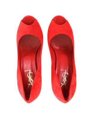 YSL RED PEEP TOE PUMPS