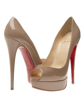 Christian Louboutin  'Lady Peep' patent leather court shoes