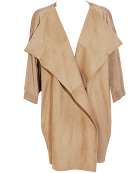 Jil Sander coat suede front and cotton-blend knit back