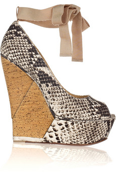 Lanvin's dark-brown and cream snake-print canvas wedges