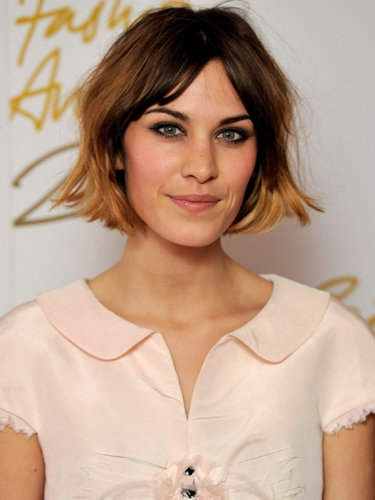 Alexa Chung Neutral Colored Blouse Make-up and Hair