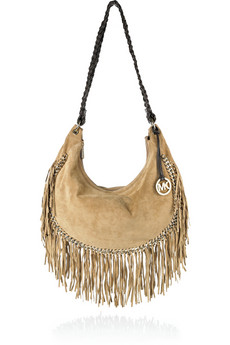 MICHAEL Michael Kors' tassel-fringed light-brown suede hobo bag