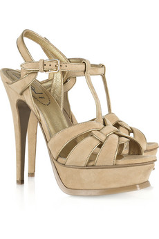 Yves Saint Laurent's Tribute gold leather-trimmed beige suede sandals