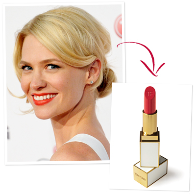January Jones hair and lipstick