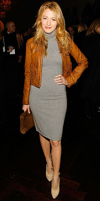 Blake Lively street style, grey dress, leather jacket, shoes