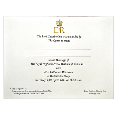 Wedding Invitation Of Prince William and Kate Middleton