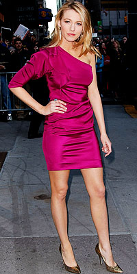 Blake Lively Bright Pink Dress Stiletto Shoes