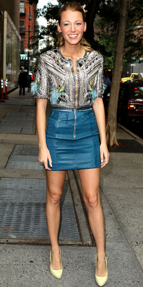 Blake Lively Street style blue leather skirt shoes High stiletto heels