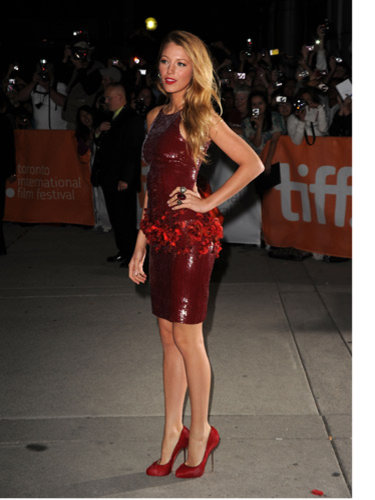 Blake Lively Chanel red dress shoes