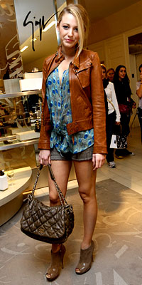 Blake Lively Shorts, leather jacket, Chanel Bag, Shoes