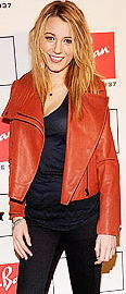 Blake Lively Street Style Red leather jacket