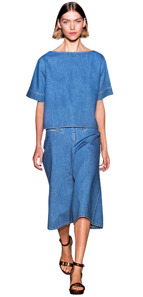Stella McCartney denim skirt and blouse 2011