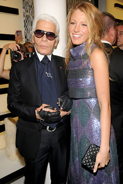 Blake Lively and Carl Lagerfeld
