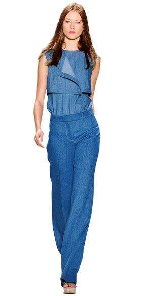 Derek Lam  Denim Outfit, pants and blouse, 2011