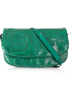Bottega Veneta's teal python messenger bag