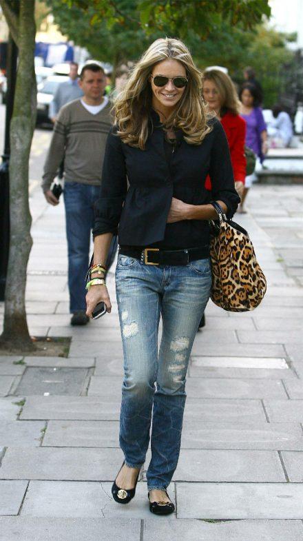 Elle_Macpherson Jeans destroyed, Leopard handbag
