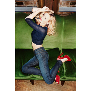 G M Jagger jeans red high heels