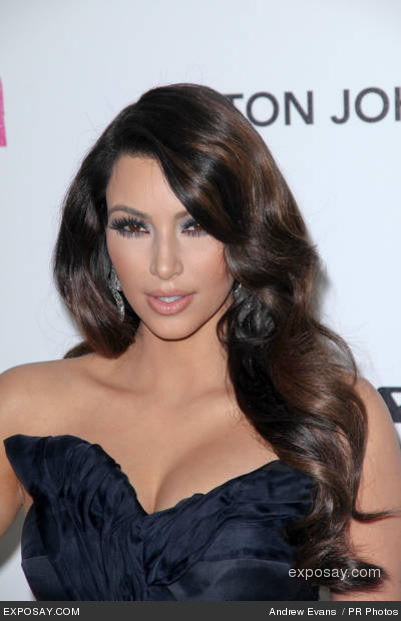 kim kardashian makeup looks 2011. Kim Kardashian with long waves