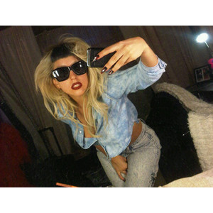 Lady gaga jeans and sunglasses