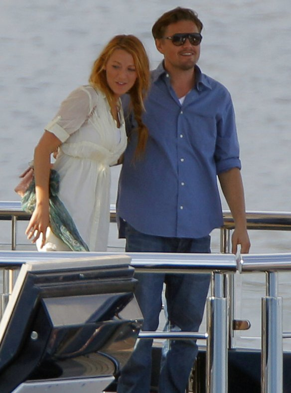 Blake Lively and leonardo di Caprio on a boat 2011