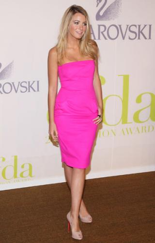 Blake Lively Bright Pink Dress