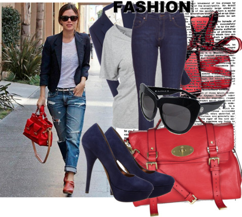 Boyfriend Jeans with accessories and red Bag