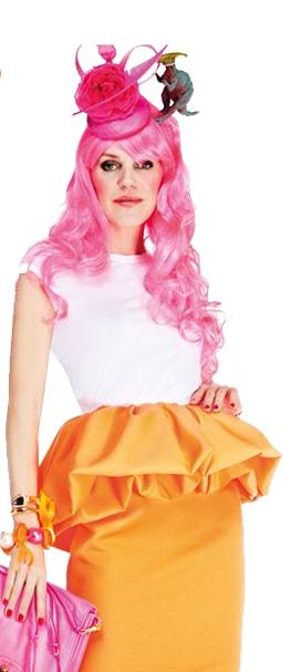 Anna Dello Russo Pink Hair, Jil Sanders skirt, Net a porte