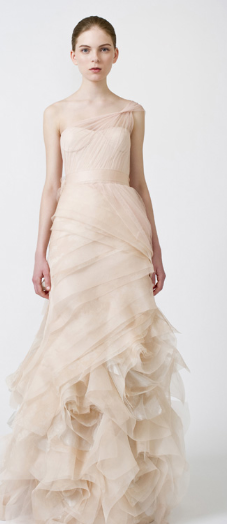 Wera Wang, bridal dress, Nude color