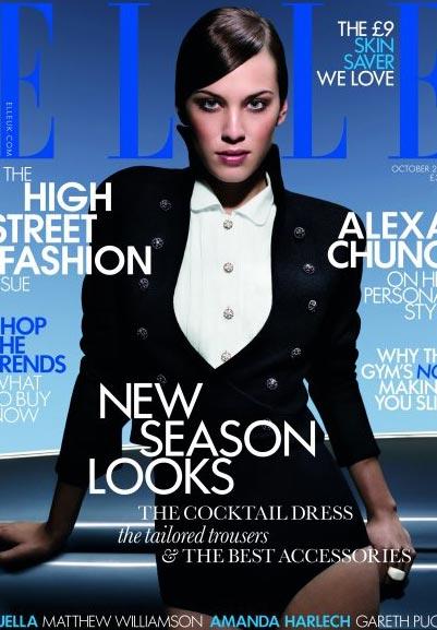Alexa Chung Tuxedo Sexy Elle Cover