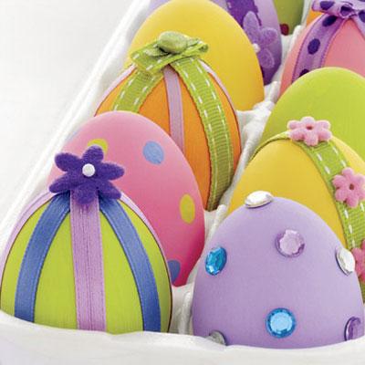 eggs decorated Πασχαλινα αυγα με λουλουδια και τρεσσες