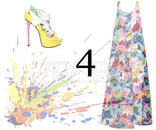 φορεμα με λουλουδια Flower Dress Jill Sanders Versace Multicolor High heels