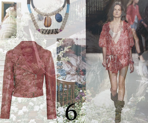 Sandro leather jacket, Isabele Marant Floral red dress, Proenza Schouler necklace