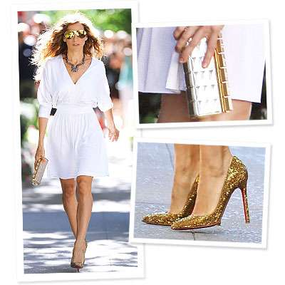 Sex and the city Gold Louboutin stiletto shoes, Sarah Jessica Parker