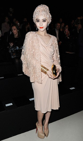 FAN-BING-BING, Total nude color outfit, hat, Louboutin Shoes