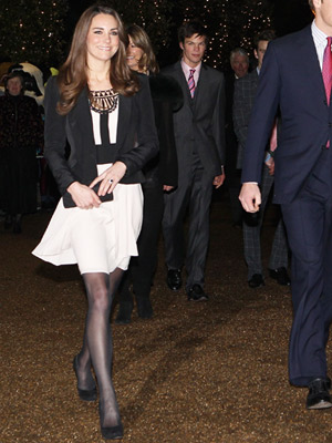 Kate Middleton wearing black ballerina flat shoes
