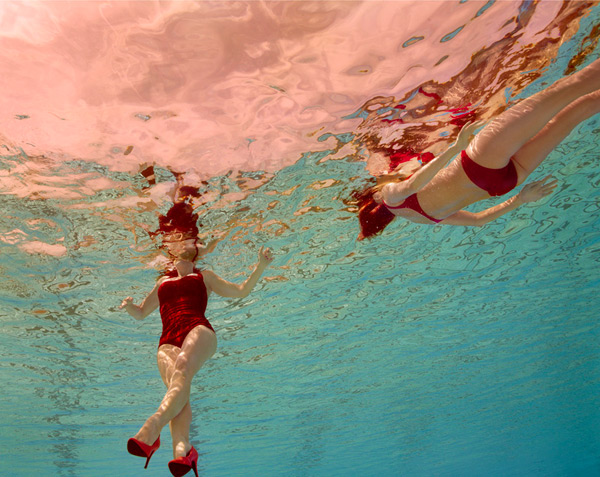 Art,Photograph, Jill Greenberg, swimming suit, red  high heel stiletto shoes