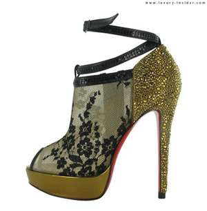 Christian Louboutin Gold black lace