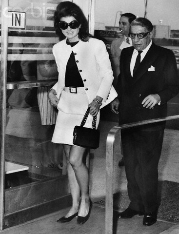 Jackie Onassis and Aristotle Onassis, sunglasses, ballerina flat shoes