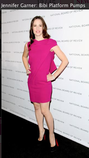 Jennifer Gardner, pink dress, louboutin shoes