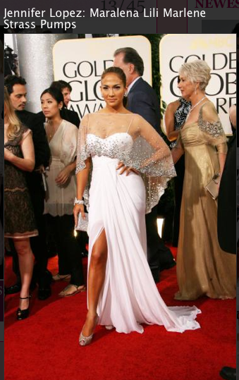 Jennifer Lopez, white dress, Louboutin high heels