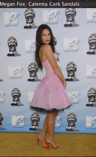 Megan Fox pink dress, shoes louboutin