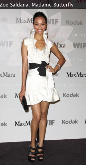Zoe Zaldana white dress, louboutin shoes, hair makeup