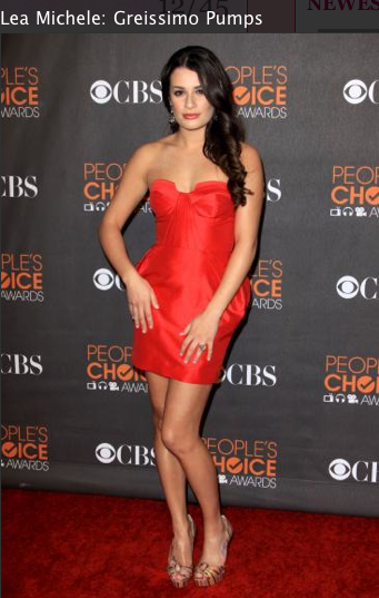 Lea Michele red dress, louboutin shoes, hair makeup
